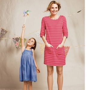 Boden Striped Pink Dress 3/4 Cotton